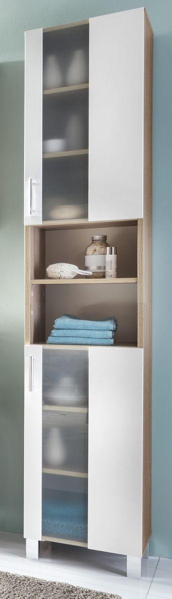 Badezimmer Hochschrank Porto Eiche sägerau und weiss 33 cm