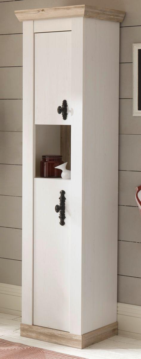 Badezimmer Hochschrank Rovola in Pinie weiss Landhaus 42 x 200 cm