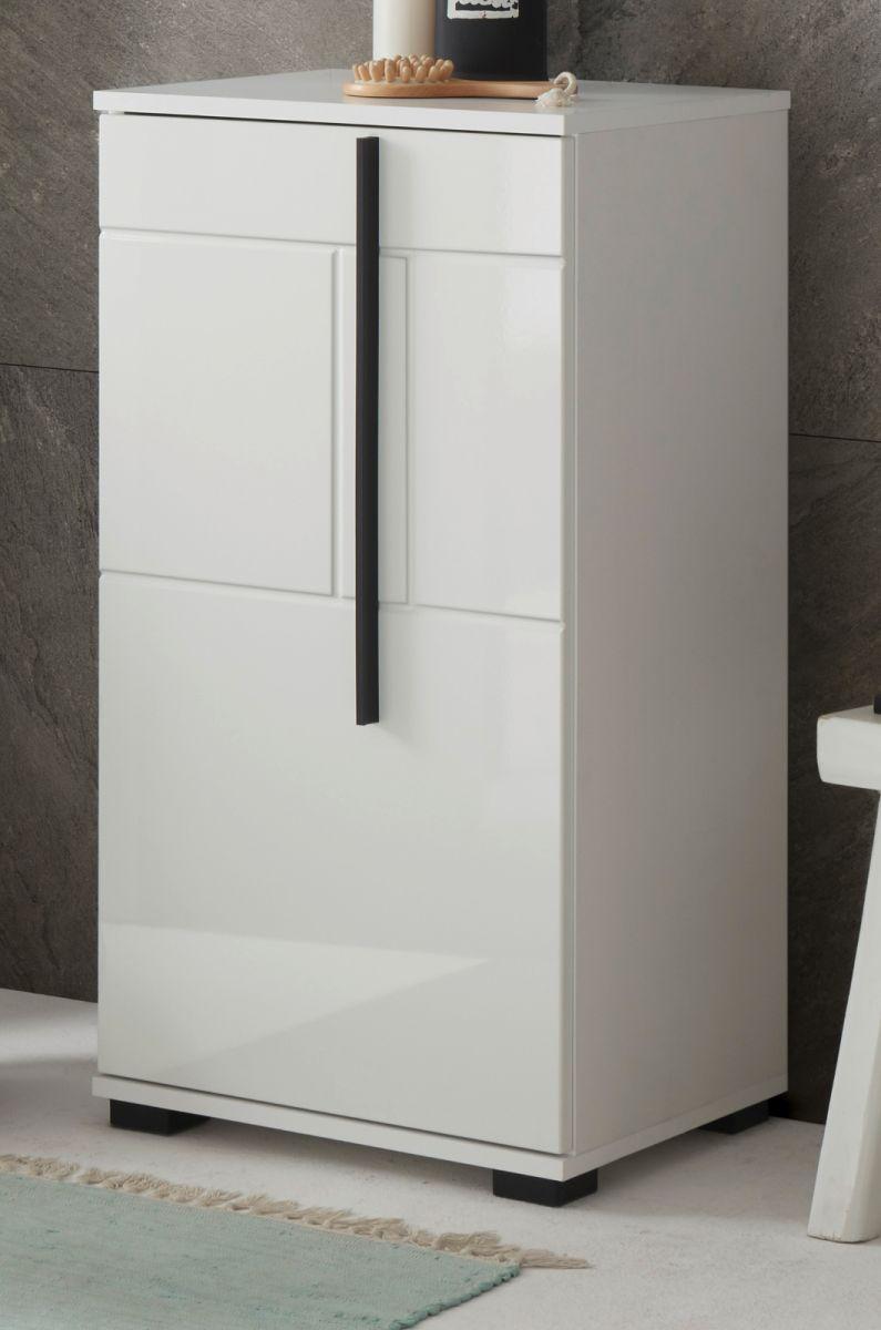 Badezimmer Kommode Design-D in Hochglanz weiss 45 x 87 cm