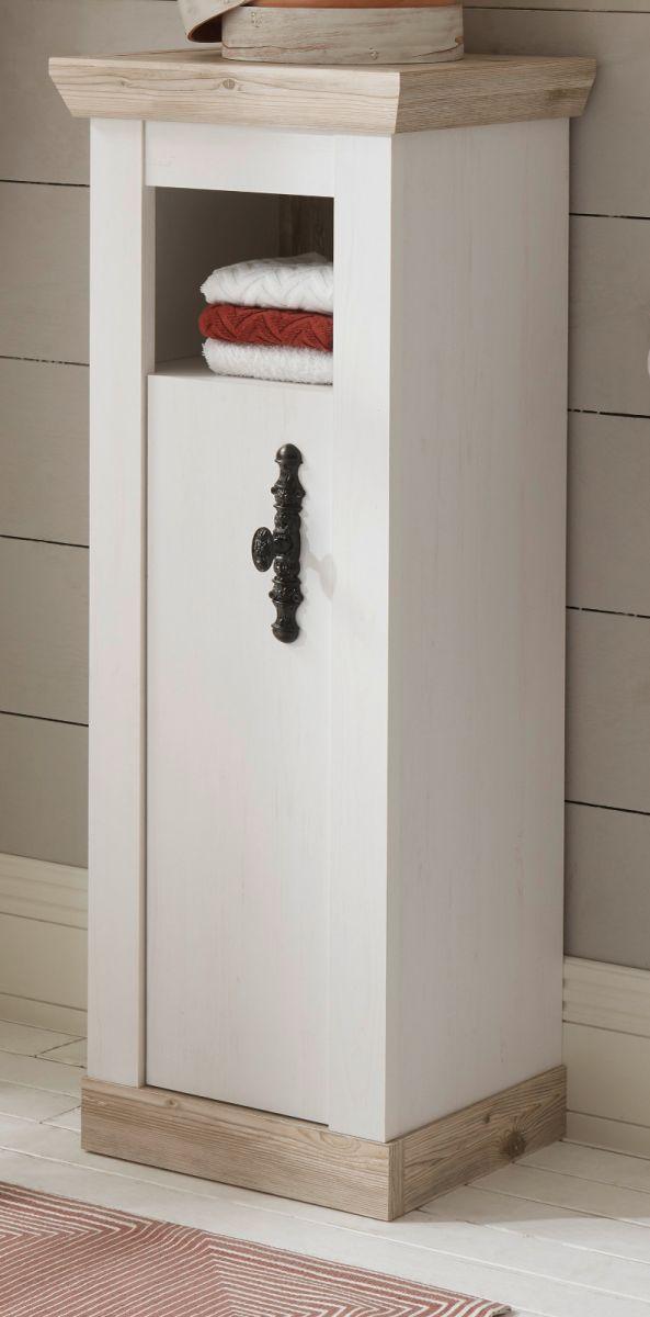 Badezimmer Kommode Rovola in Pinie weiss Landhaus 42 x 120 cm