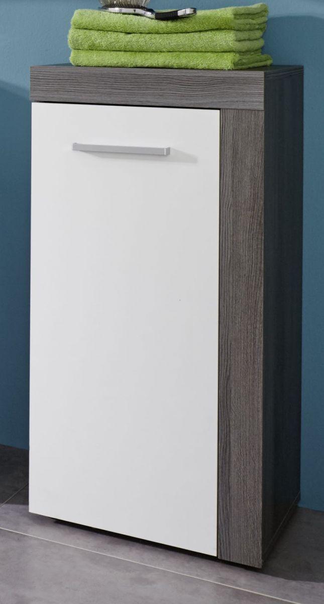 Badezimmer Kommode Unterschrank Miami in weiss und Sardegna Rauchsilber grau 36 x 81 cm