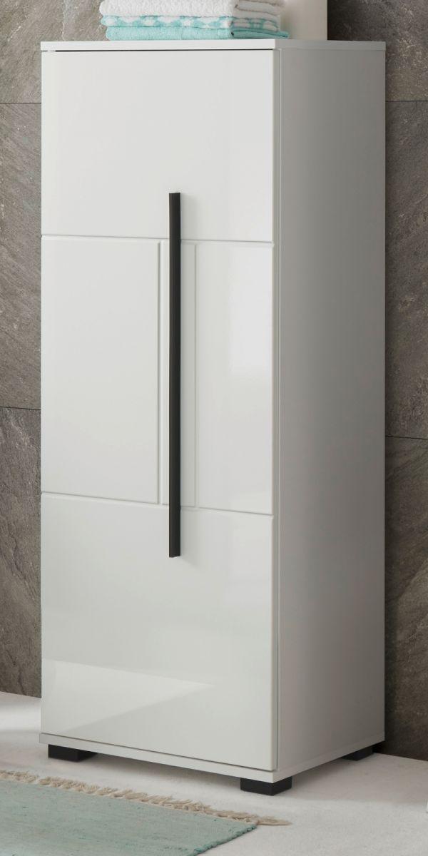 Badezimmer Midischrank Design-D in Hochglanz weiss 45 x 120 cm