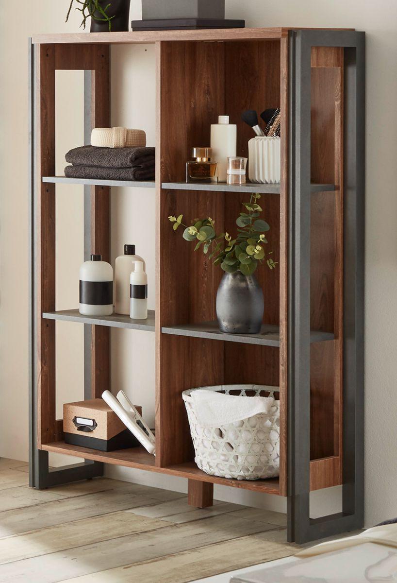 Badezimmer Regal Auburn Eiche Stirling und Matera grau 90 x 140 cm