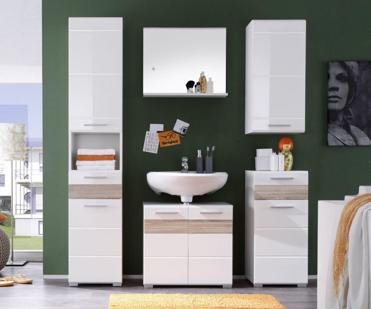 Badezimmer Set Badmöbel Mezzo weiss Hochglanz mit Eiche hell 5-teilig 160 x 182 cm
