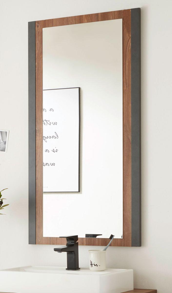 Badezimmer Spiegel Auburn Eiche Stirling und Matera grau 54 x 108 cm