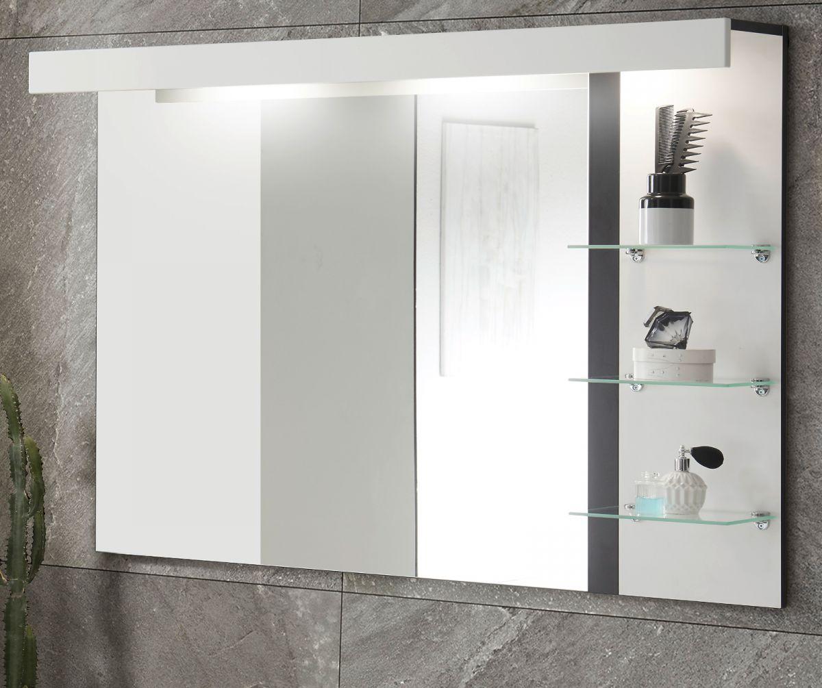 Badezimmer Spiegel Design-D in weiss Hochglanz und schwarz mit Beleuchtung 120 x 85 cm