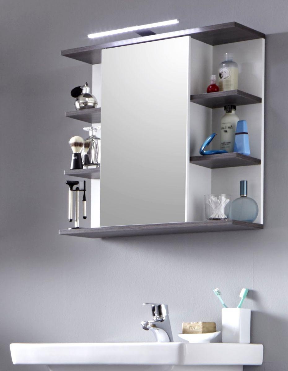 Badezimmer Spiegelschrank California weiss und Sardegna grau mit Regal 60 cm