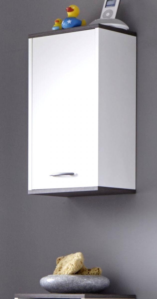 Badmöbel Hängeschrank California weiss Sardegna grau 32 x 60 cm