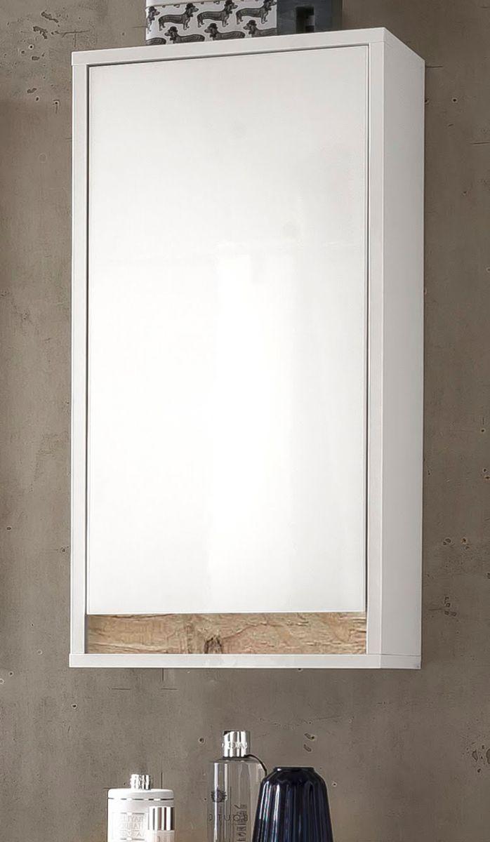 Badmöbel Hängeschrank Hochglanz weiss echt Lack und Alteiche Dekor Sol 35x73 cm