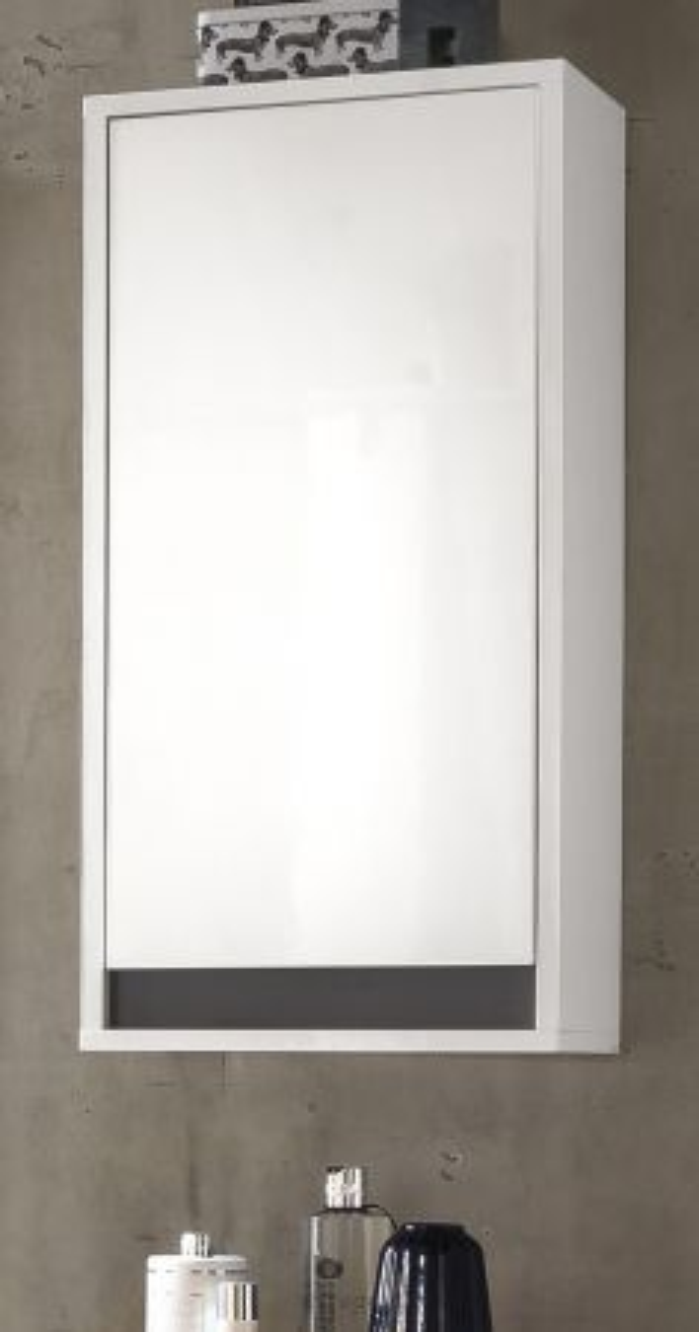 Badmöbel Hängeschrank Hochglanz weiss echt Lack und grau Sol 35x73 cm