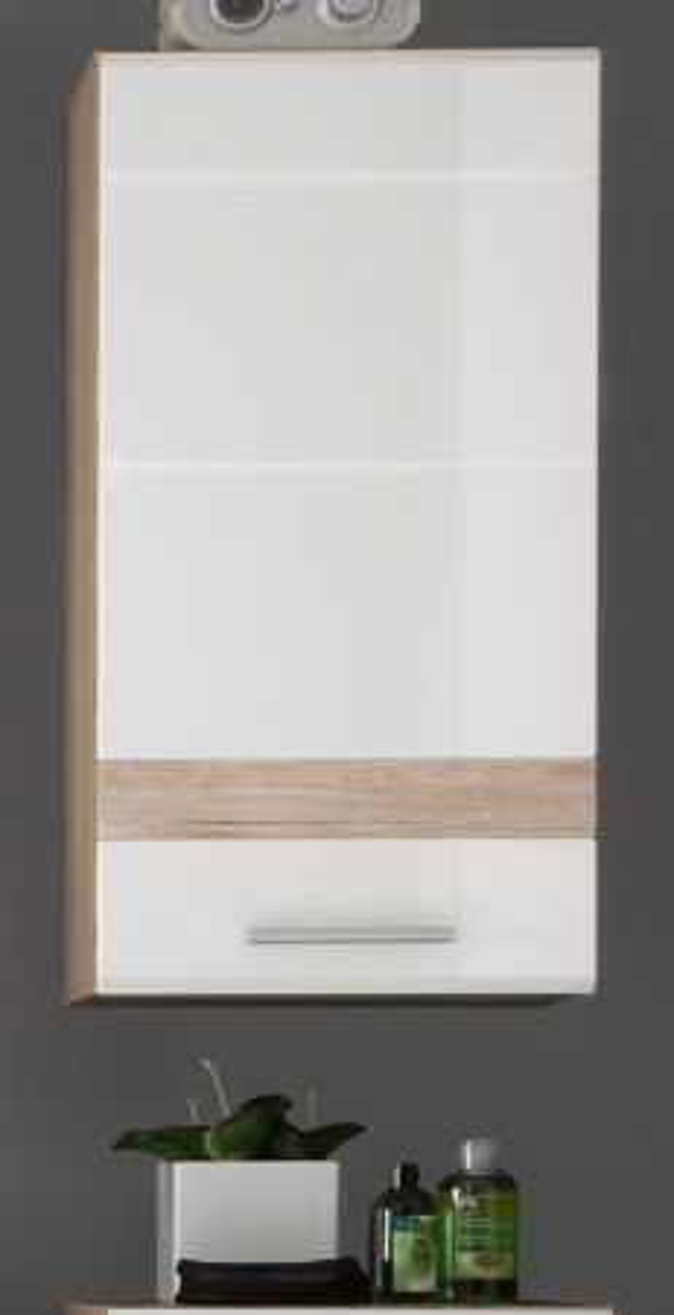 Badmöbel Hängeschrank SetOne Hochglanz weiss und Eiche 37 x 77 cm
