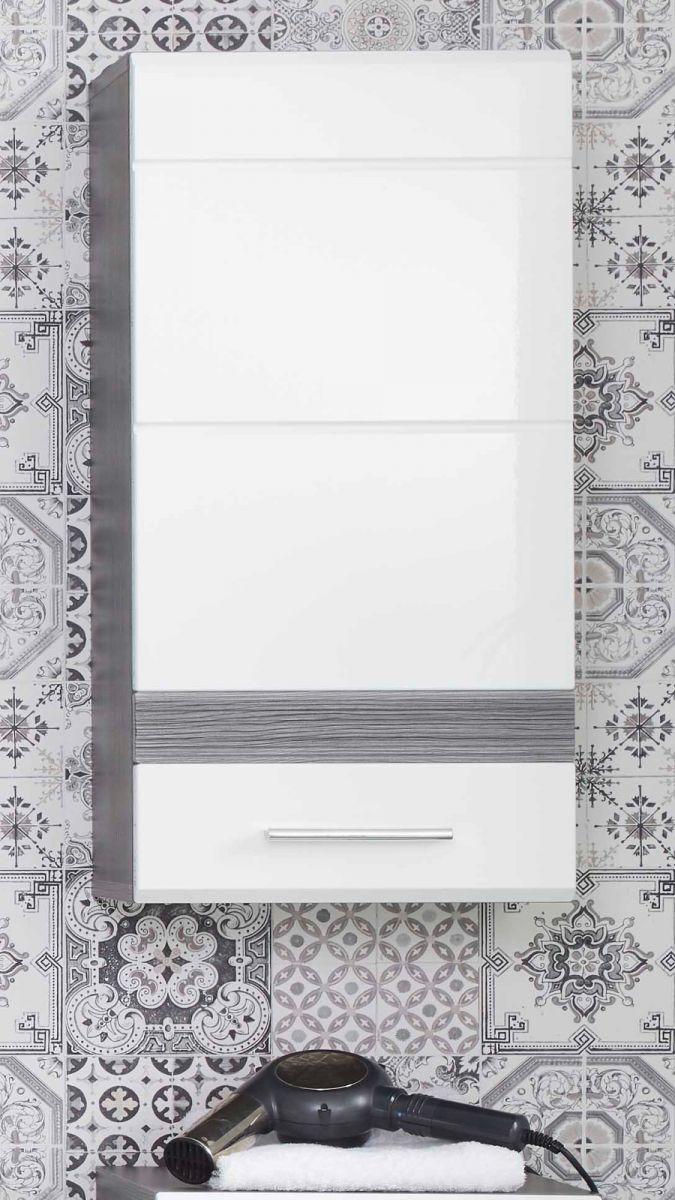 Badmöbel Hängeschrank SetOne Hochglanz weiss und Sardegna grau 37 x 77 cm