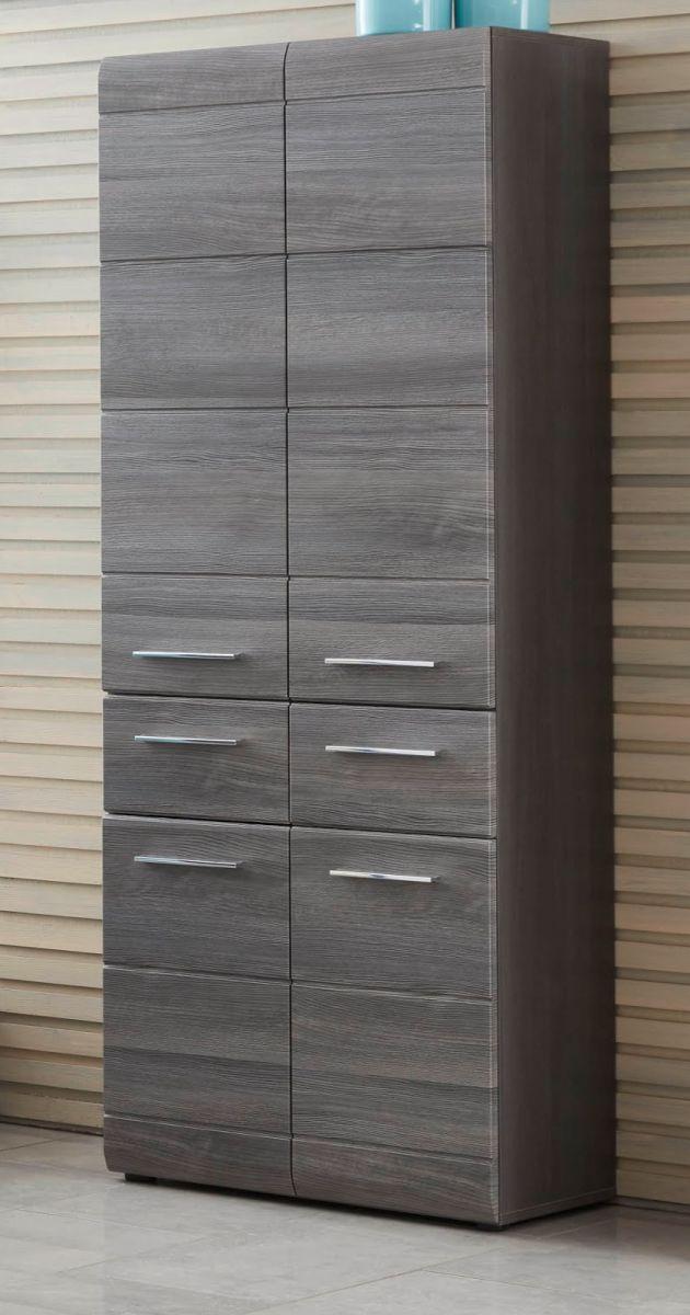 Badmöbel Hochschrank Line Sardegna grau Rauchsilber 60 x 182 cm