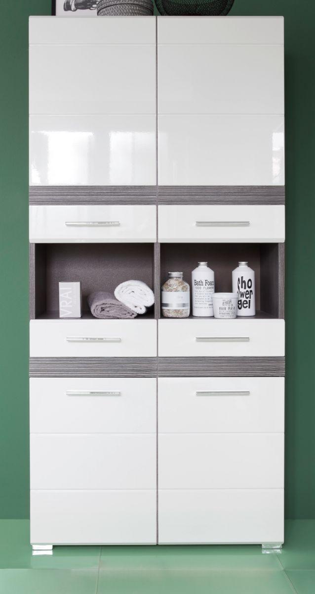 Badmöbel Hochschrank SetOne Hochglanz weiss und Sardegna grau 73 x 182 cm