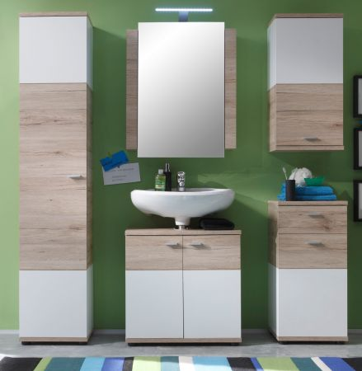 Badmöbel komplett Set Campus Eiche San Remo und weiss- 5-teilig mit Spiegelschrank