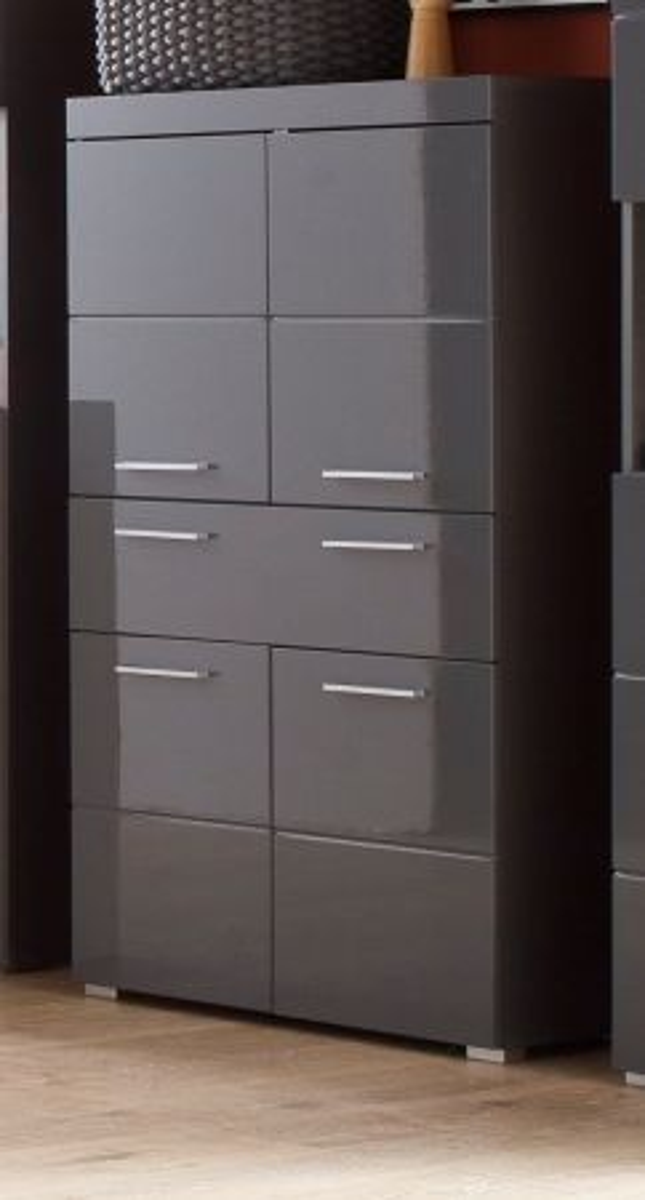 Badmöbel Midischrank Amanda Hochglanz grau 73 x 132 cm