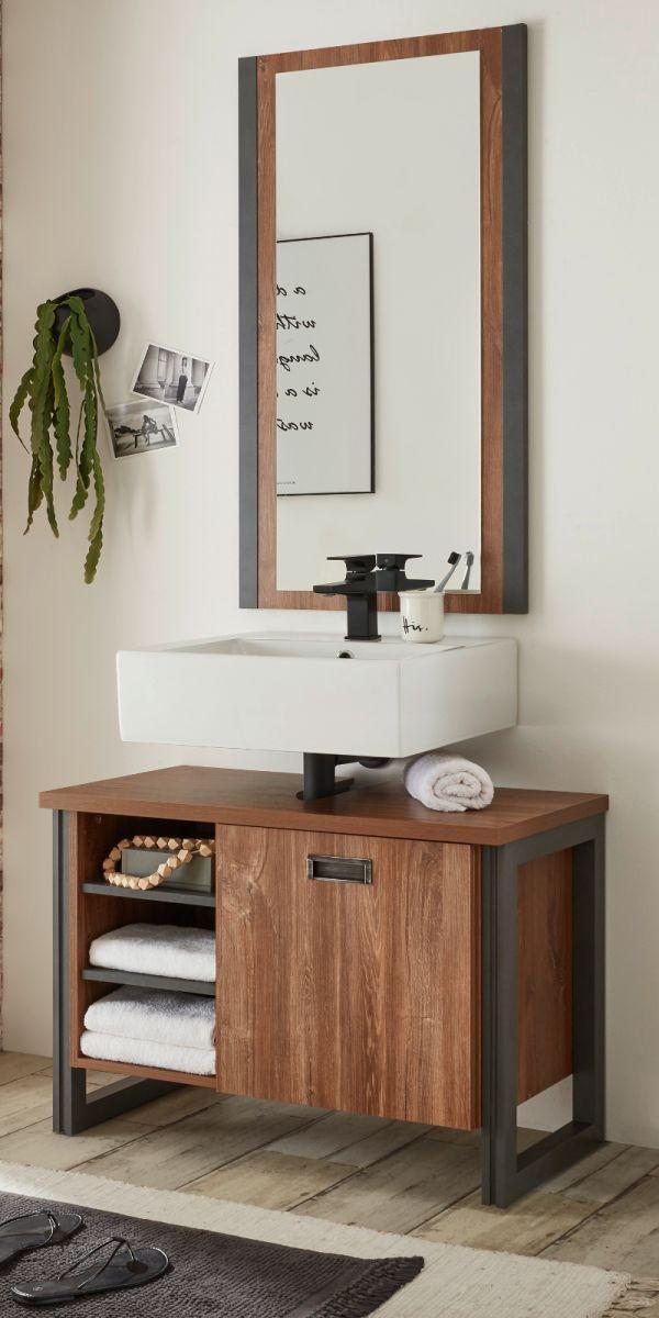 Badmöbel Set 2-teilig Auburn Eiche Stirling und Matera grau 81 x 205 cm