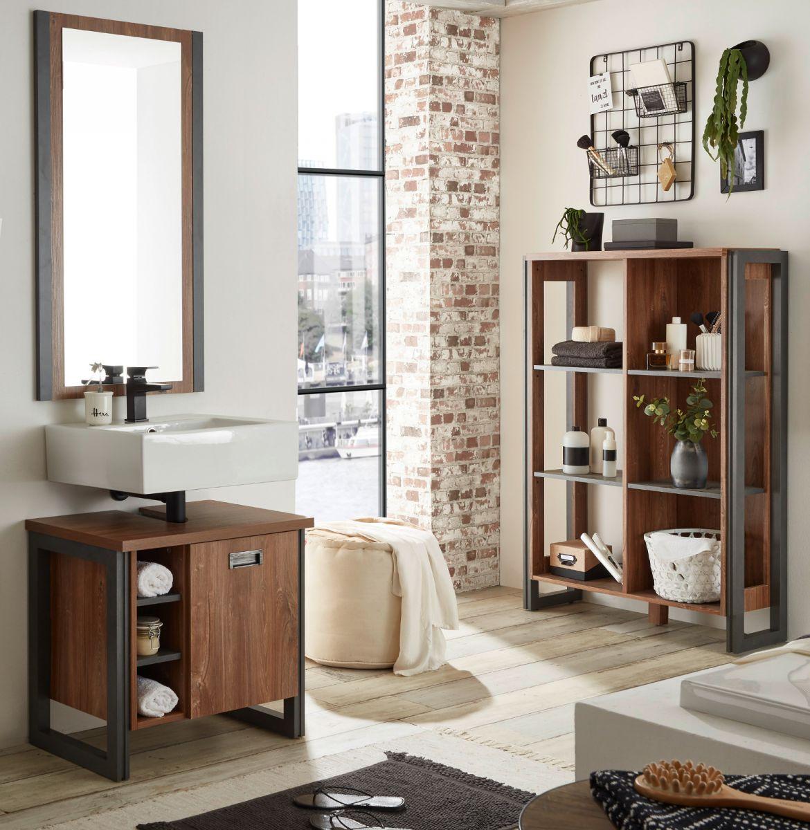 Badmöbel Set 3-teilig Auburn Eiche Stirling und Matera grau 171 x 205 cm