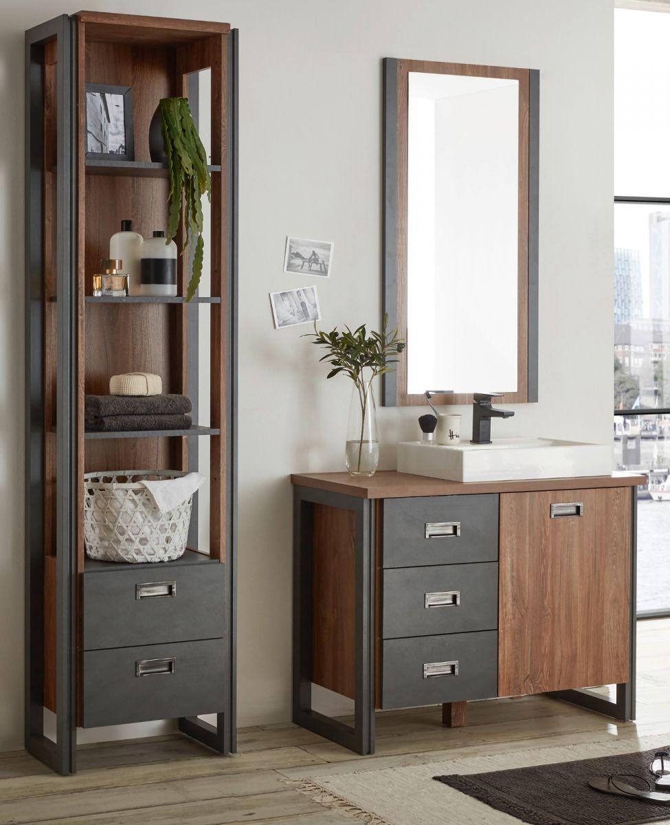 Badmöbel Set 4-teilig Auburn Eiche Stirling und Matera grau 160 x 205 cm