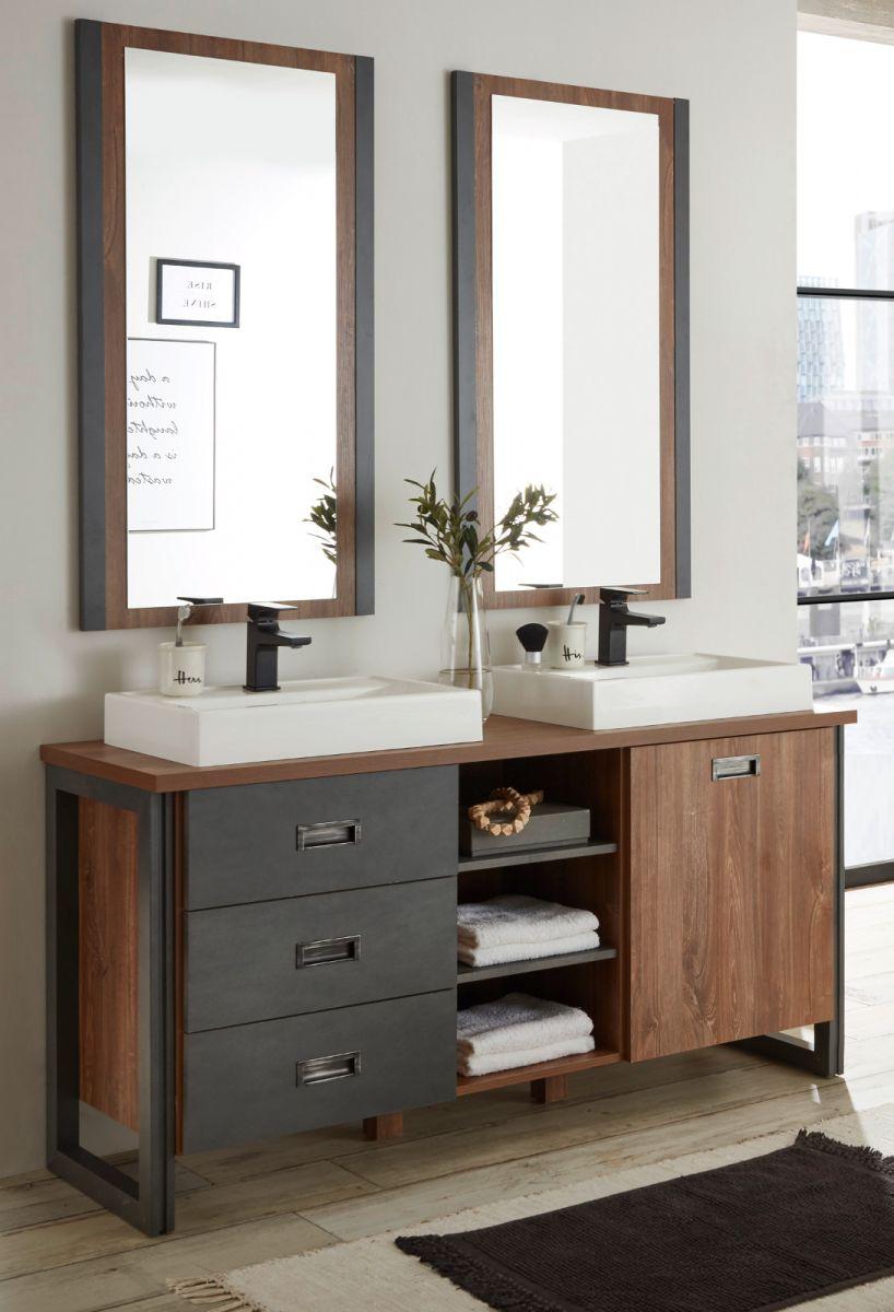 Badmöbel Set 5-teilig Auburn Eiche Stirling und Matera grau Doppelwaschtisch 138 x 205 cm