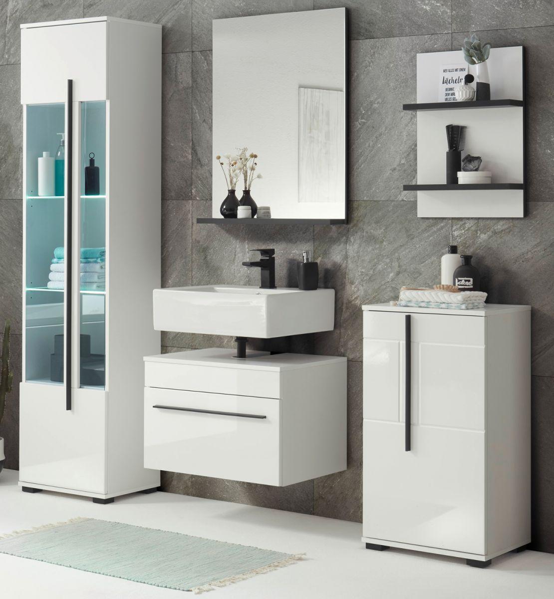 Badmöbel Set 5-teilig Design-D in Hochglanz weiss 170 x 200 cm