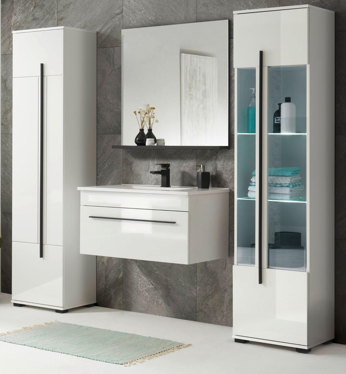 Badmöbel Set 5-teilig Design-D in Hochglanz weiss 190 x 200 cm