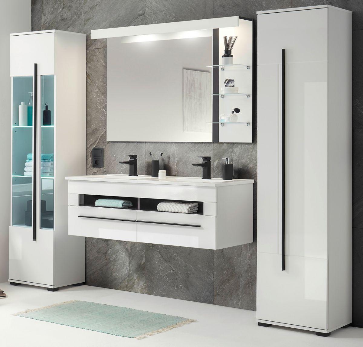 Badmöbel Set 5-teilig Design-D in Hochglanz weiss 230 x 200 cm