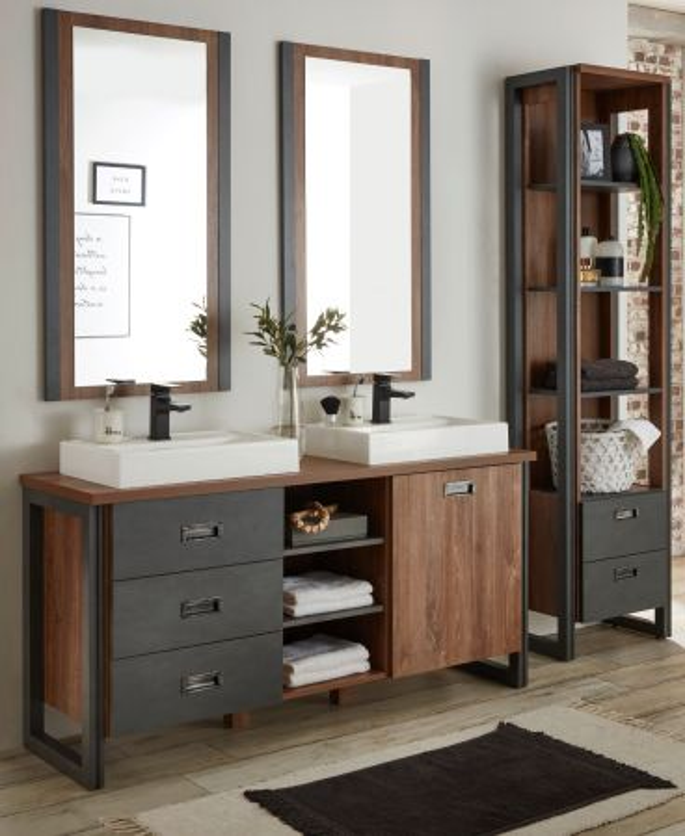 Badmöbel Set 6-teilig Auburn Eiche Stirling und Matera grau Doppelwaschtisch 208 x 205 cm
