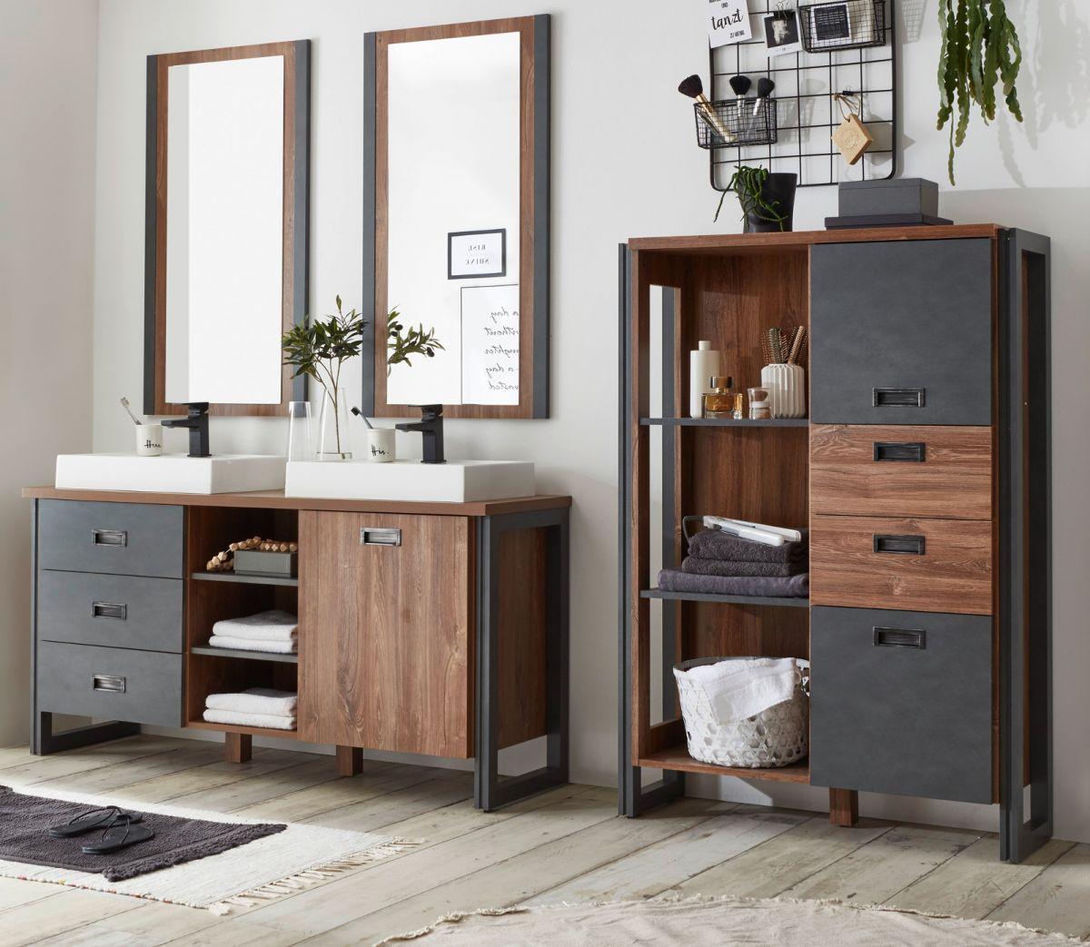 Badmöbel Set 6-teilig Auburn Eiche Stirling und Matera grau Doppelwaschtisch 248 x 205 cm