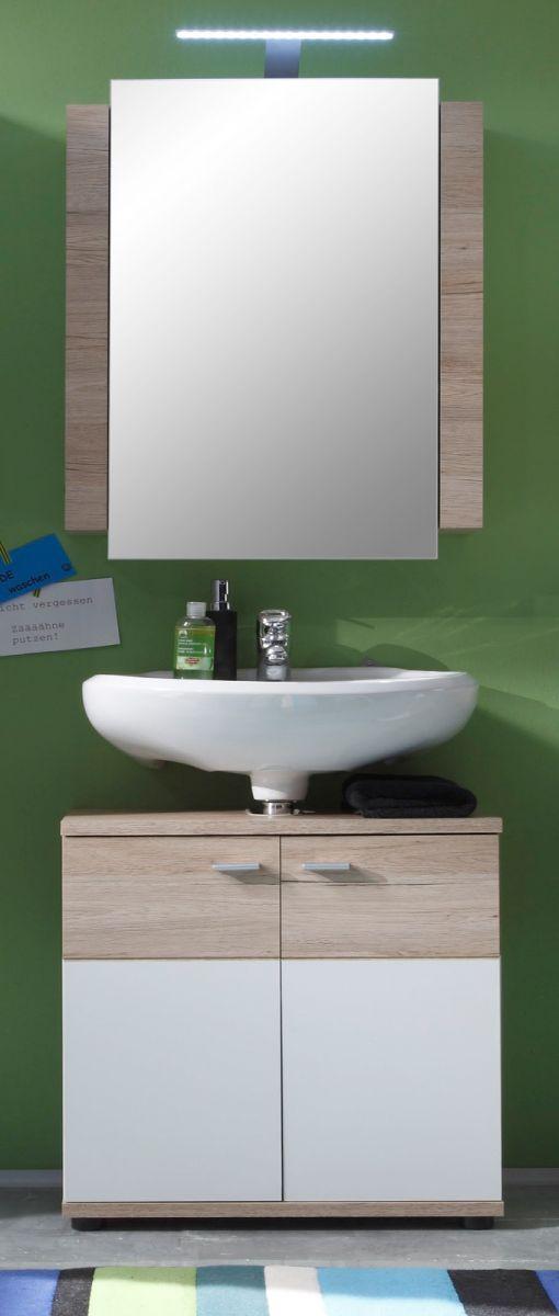 Badmöbel Set Campus weiss und Eiche San Remo mit Waschbeckenunterschrank Spiegelschrank 60 cm