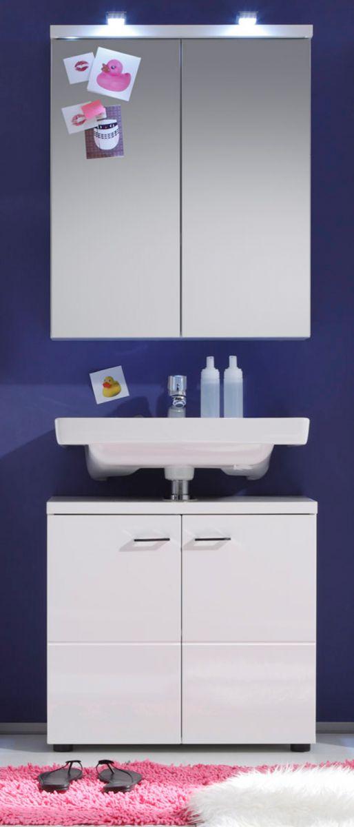 Badmöbel Set Nightlife Hochglanz weiss Spiegelschrank und Unterschrank 65 cm