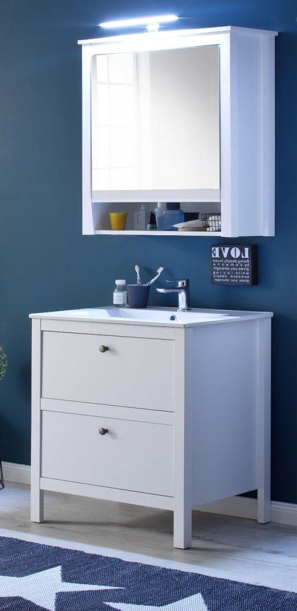 Badmöbel Set Ole weiss 3-teilig inkl- Waschbecken und Spiegelschrank 61 cm