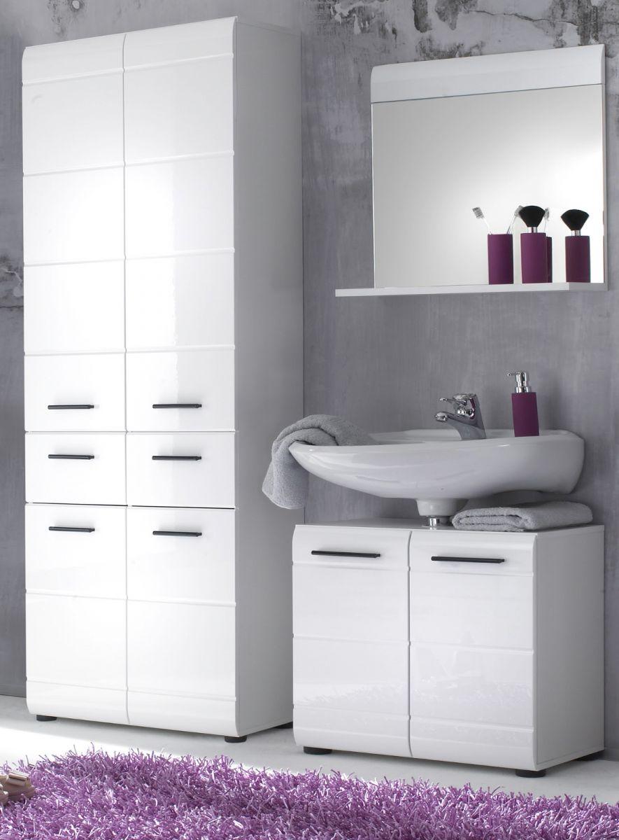 Badmöbel Set Skin Hochglanz weiss 3-teilig 145 cm