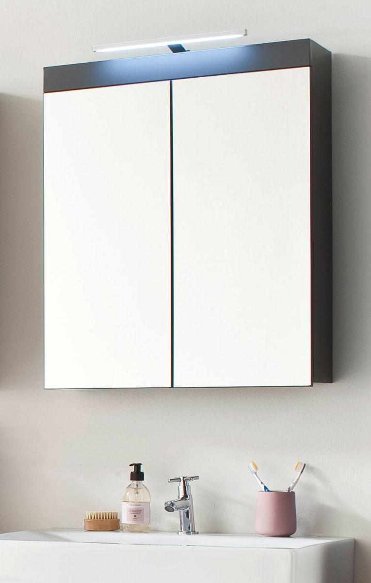 Badmöbel Spiegelschrank Amanda in Hochglanz grau 2-türig inkl- LED-Beleuchtung 60 x 77 cm