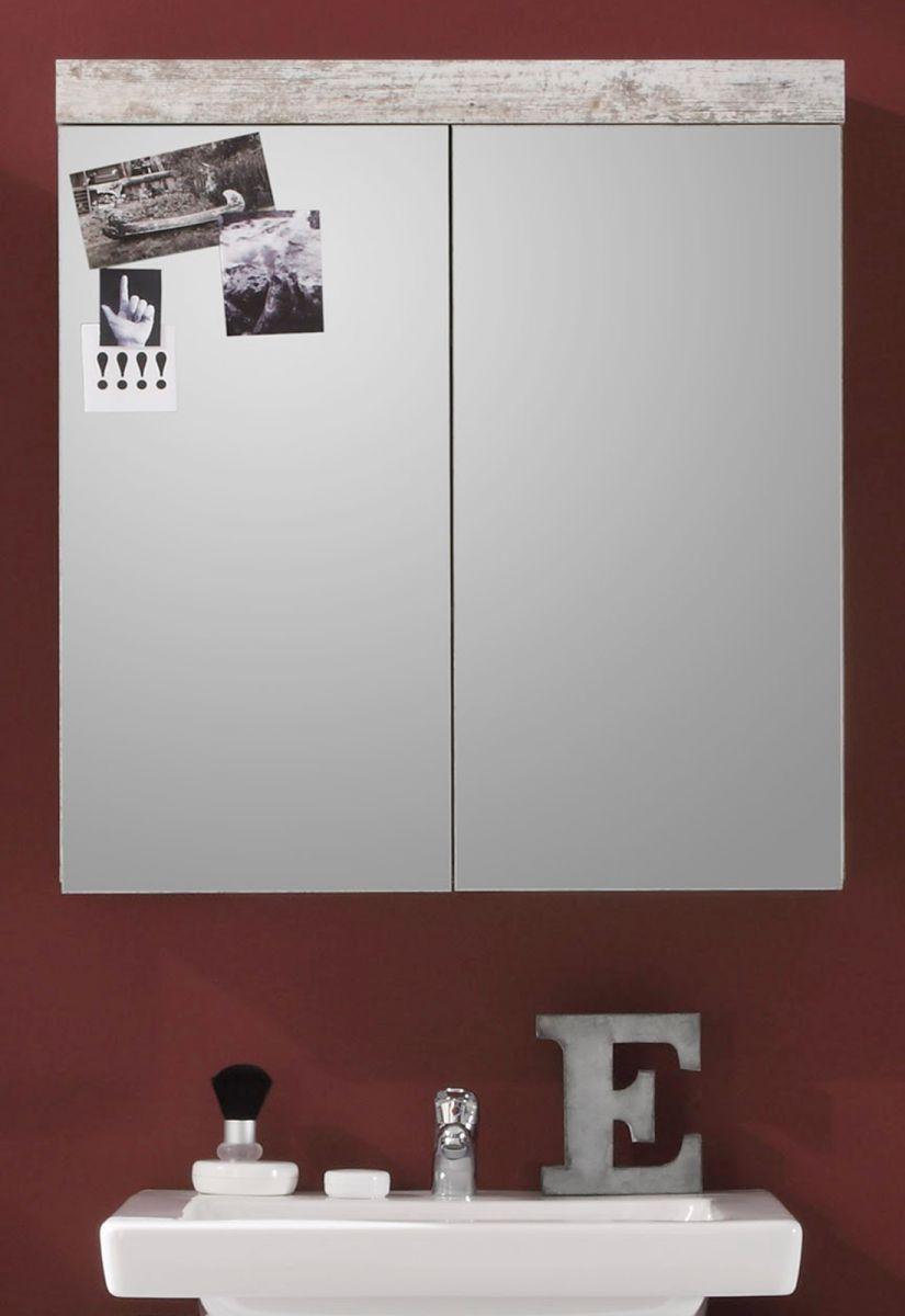 Badmöbel Spiegelschrank Cancun Pinie weiss Shabby 72 cm