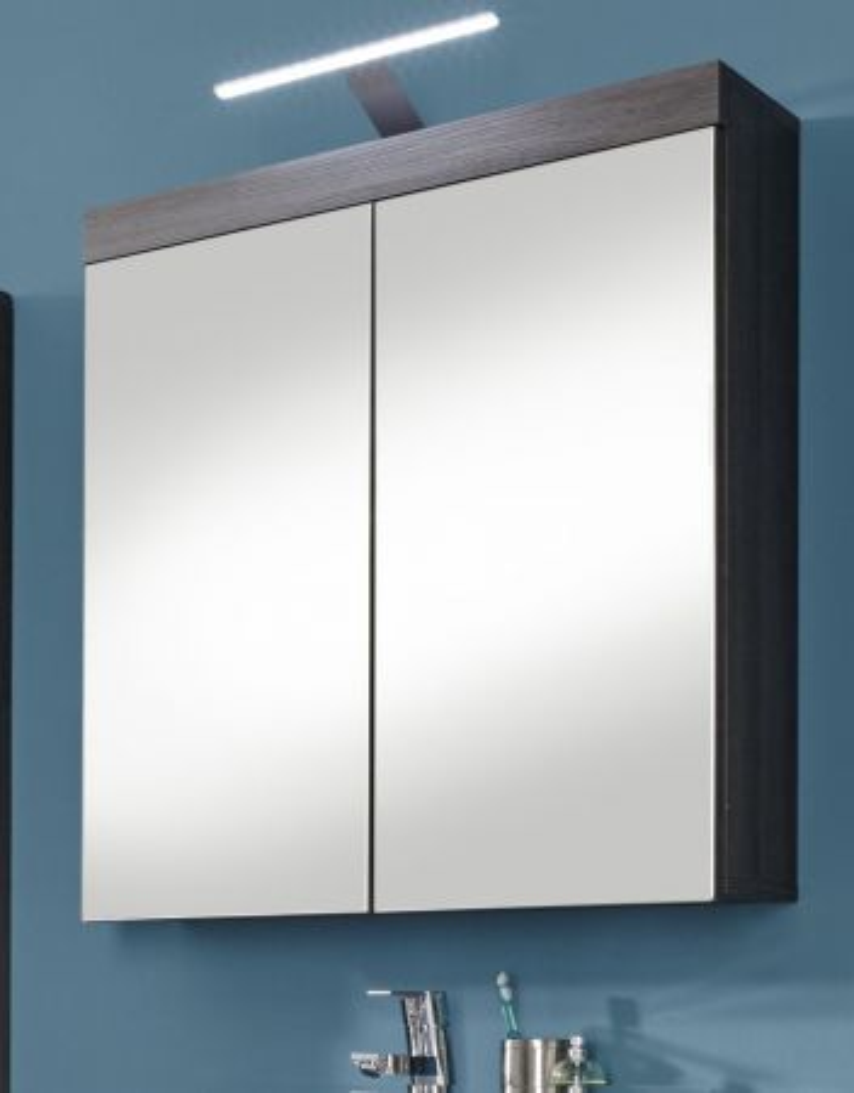 Badmöbel Spiegelschrank Miami in Sardegna Rauchsilber grau- 2-türig 72 x 79 cm