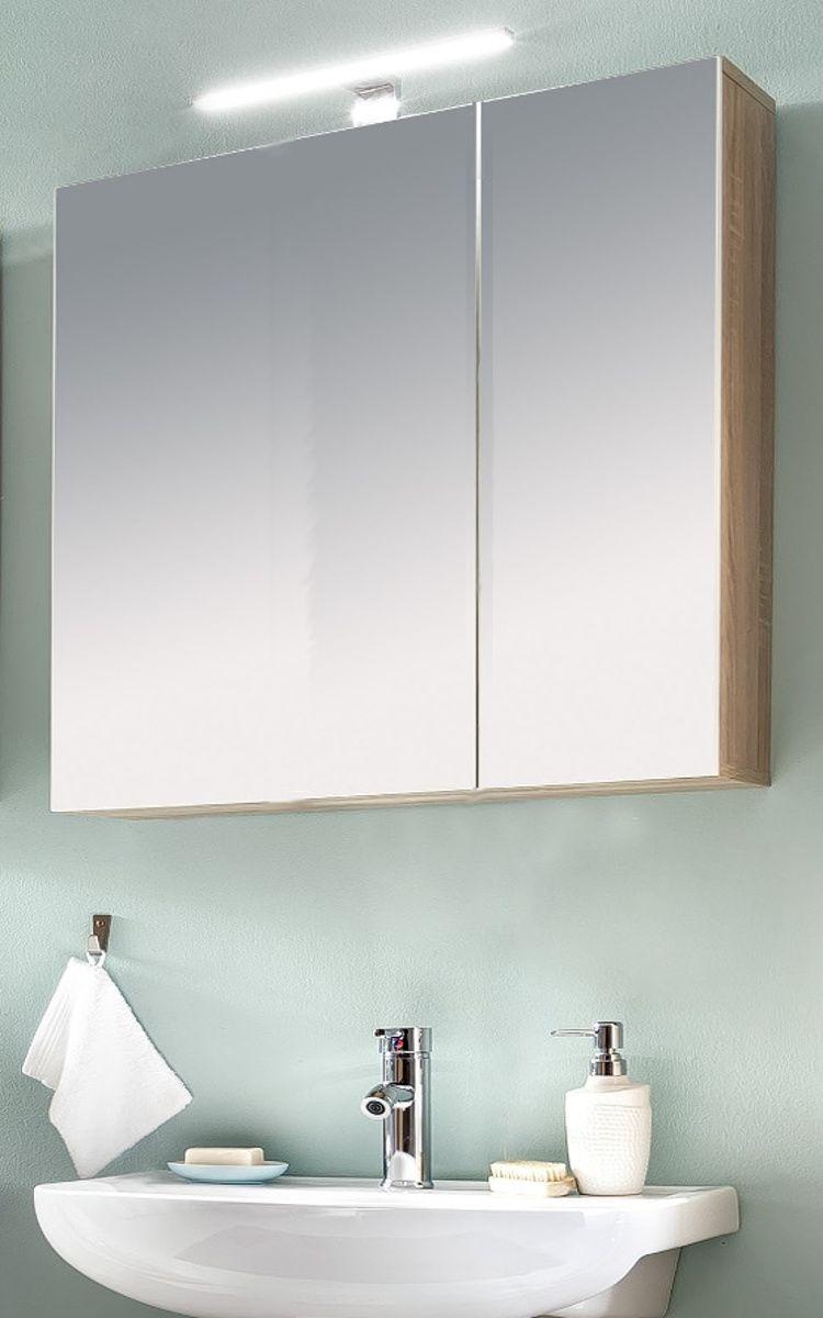 Badmöbel Spiegelschrank Porto Eiche sägerau und weiss