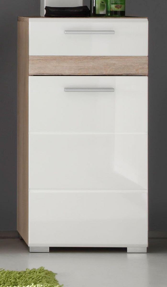 Badmöbel Unterschrank SetOne Hochglanz weiss und Eiche 37 x 80 cm