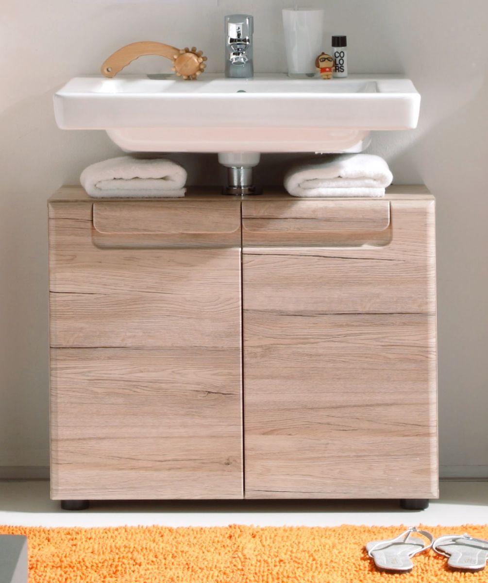 Badmöbel Waschbecken Unterschrank Malea Eiche San Remo hell 65 x 56 cm
