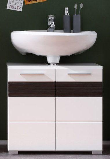 Badmöbel Waschbeckenunterschrank Mezzo in weiss Hochglanz mit Eiche dunkel