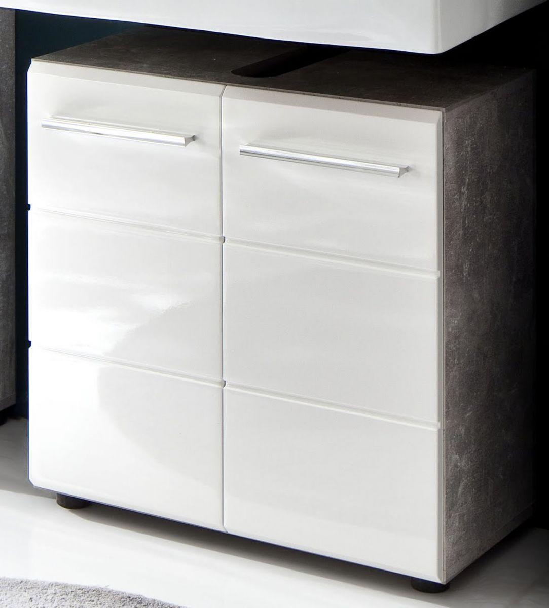 Badmöbel Waschbeckenunterschrank Nano in weiss Hochglanz und Stone Design grau 60 cm