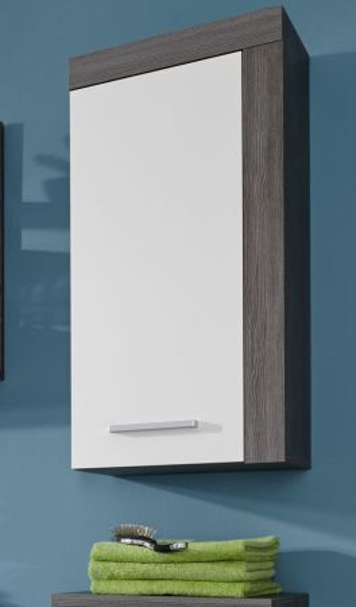 Badschrank Hängeschrank in weiss und Sardegna Rauchsilber grau 36 x 79 cm Badmöbel Miami
