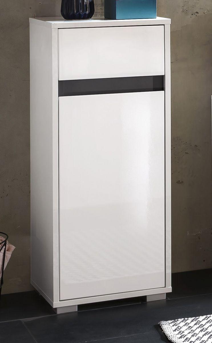 Badschrank Unterschrank SOL echt Lack Hochglanz weiss und grau Kommode 35x89 cm