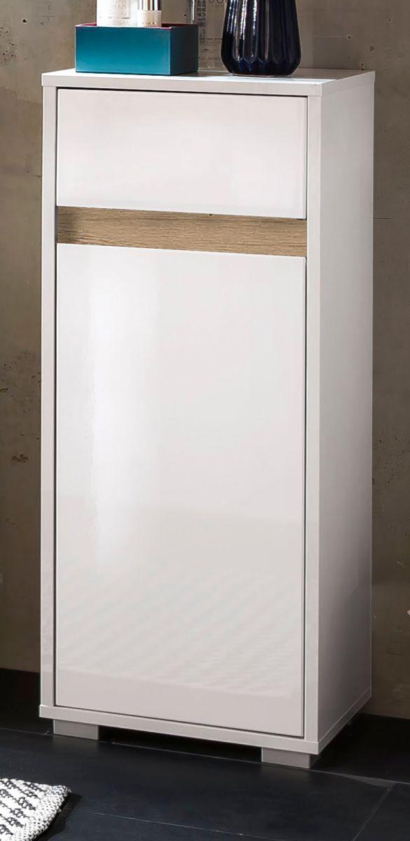 Badschrank Unterschrank Sol Hochglanz weiss Lack und Alteiche Dekor Kommode 35x89 cm