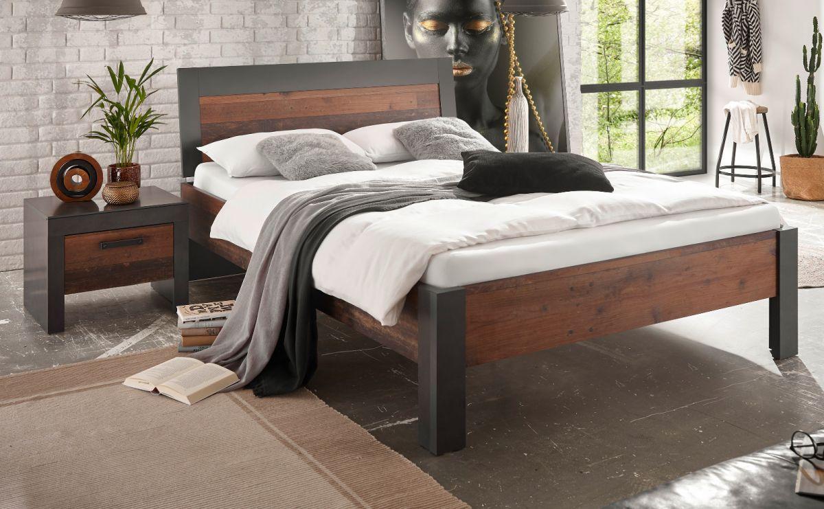 Bett und Nachttisch Ward in Used Wood Shabby und Matera grau Liegefläche 140 x 200 cm Set 2-tlg-