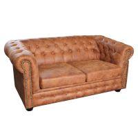Chesterfield Sofa 2 Sitzer Microfaser Vintage