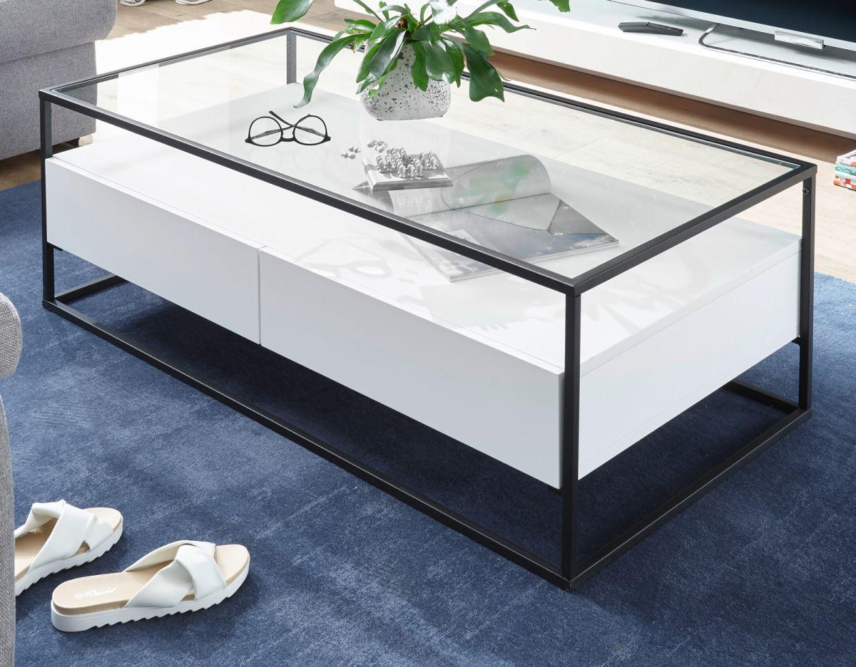 Couchtisch Evora in weiss mit Metallgestell und Glas 120 x 60 cm