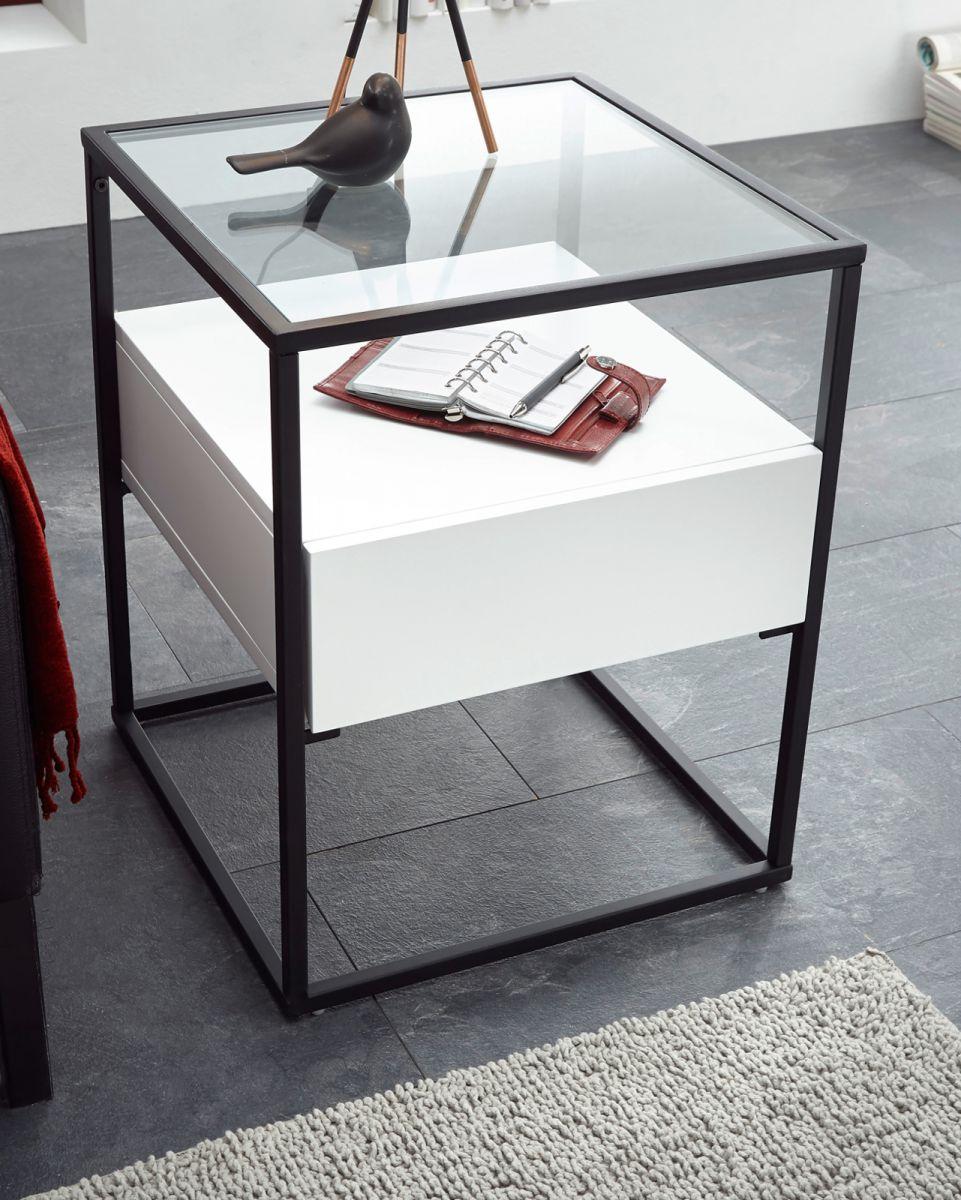 Couchtisch Evora in weiss mit Metallgestell und Glas 43 x 43 cm