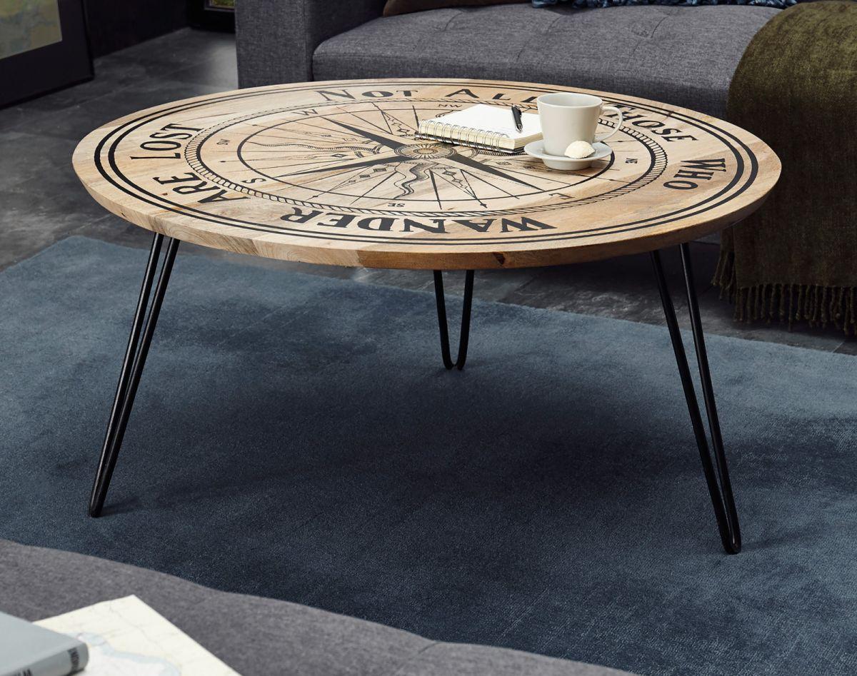 Couchtisch Nevis in Mango mit Kompass - Druck 90 cm