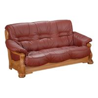 Country Sofa Tennessee- 3-Sitzer pigmentiertes Nappaleder rot